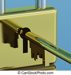Padlock With Key Closeup Showing Security Protection And Safety