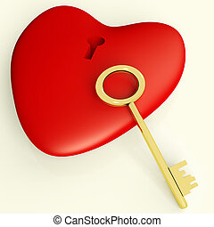 Heart With Key Showing Love Romance And Valentines - Heart...