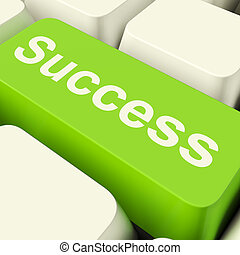 Success Computer Key In Green Showing Achievement And...