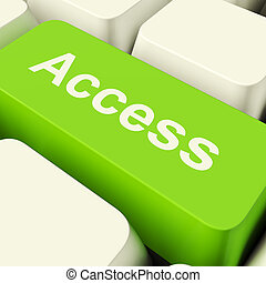 Access Computer Key In Green Showing Permission And Security...