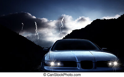 Car at night with thunderstorm