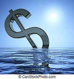 Dollar Sinking And Sun Showing Depression Recession And Economic Downturns