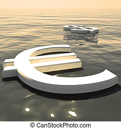 Euro Floating And Dollar Going Away Showing Money Exchanges Or Forex