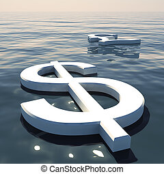 Dollar Floating And Pound Going Away Showing Money Exchanges...