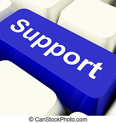 Support Computer Key In Blue Showing Help And Assistance -...