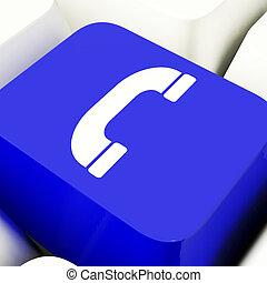 Microteléfono, icono, computadora, llave, en, azul,...