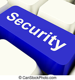 Security Computer Key In Blue Showing Privacy And Safety -...