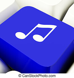 Music Symbol Computer Key In Blue Showing Online Radio Or...