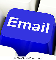 Email Computer Key In Blue For Emailing Or Contacting -...