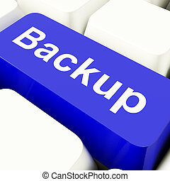 Backup Computer Key In Blue For Archiving And Storage -...
