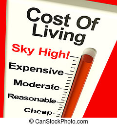 Cost Of Living Expenses Sky High Monitor Showing Increasing Cost