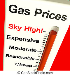 Gas Prices Sky High Monitor Showing Soaring Fuel Expenses -...