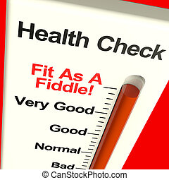 Health Check Very Fit On Monitor Showing Healthy Condition -...