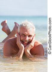 senior man on a summer vacation