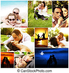 Love concept collage with various images of happy young...
