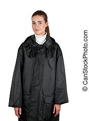 woman in rain coat on a white