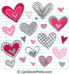 Valentine's Day Love Hearts Doodles - Valentine's Day Hearts...