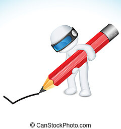 3d Man in Vector with Pencil - illustration of 3d man in...