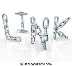 Link Metal Chain Links Connected in Word - The word Link in...