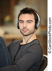 Single man with headphones