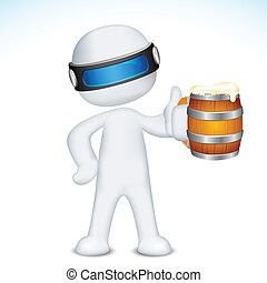 3d Man in Vector with Beer Mug