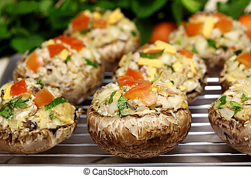 Stuffed Portabella Mushrooms - Stuffed baby portabella...