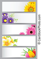 Flower Banner - illustration of set of banner with different...