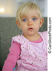 Little girl with very blue eyes