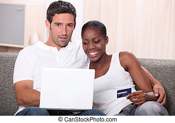 Couple buying on-line