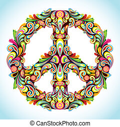Colorful Peace - illustration of peace sign made of colorful...