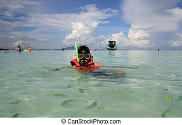 Snorkeling - Young man snorkeling at Phi Phi island in...