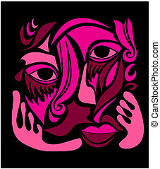 Funky Abstract Art Face - Abstract illustration of a female...