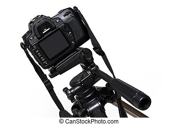 Digital Camera On Tripod - Digital camera mounted on a...
