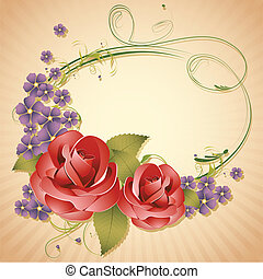 Rose on Retro Background