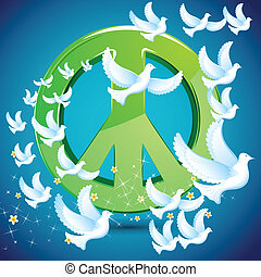Dove flying around Peace symbol - illustration of dove...