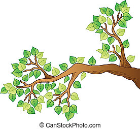 Cartoon tree branch with leaves 1 - vector illustration.
