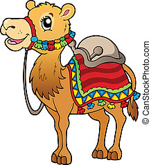 Cartoon camel with saddlery - vector illustration