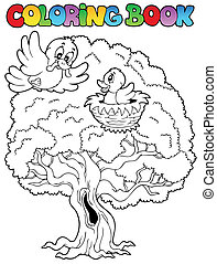 Coloring book big tree with birds