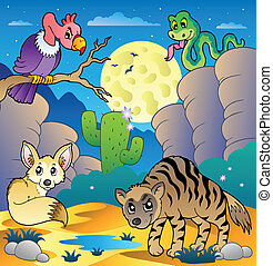 Desert scene with various animals 2 - vector illustration.