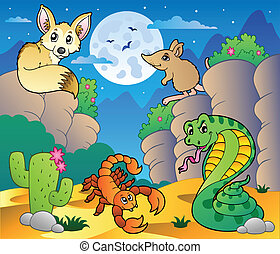 Desert scene with various animals 5 - vector illustration.
