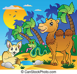 Desert scene with various animals 1 - vector illustration