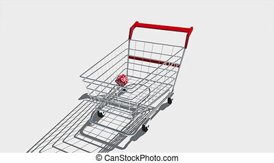 Sale - Shopping carts with red cubes. Concept of discount