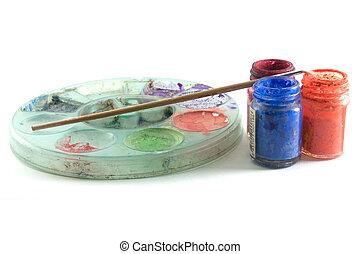 藝術, 調色板, 刷子, 畫,  Gouache,  set: