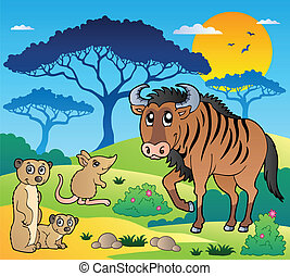 Savannah scenery with animals 3 - vector illustration.