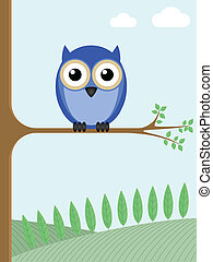 Owl sat on a tree branch with a countryside backdrop