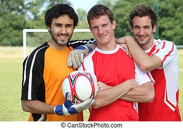 fútbol, compañeros de equipo, Posar
