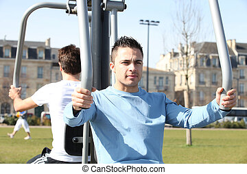 young men training in the park