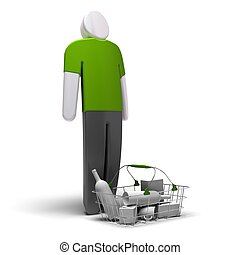 average consumer with green blank tshirt in front of a...