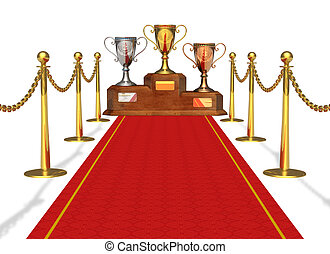 Success and achievement concept: trophy cups on pedestal and...