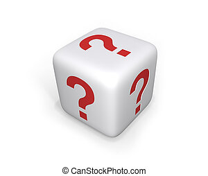 Question Mark Dice - XL - White dice with question marks on...